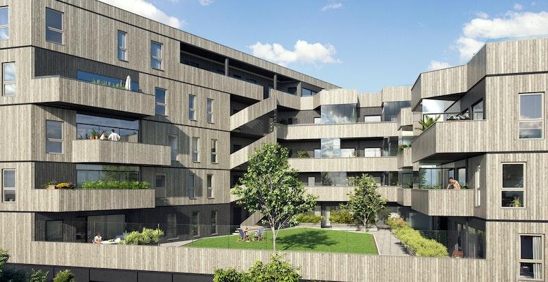 Alle leilighetene får terrasser eller balkonger. 2 gårdsrom skaper både luft mellom leilighetene og hyggelige grøntarealer.