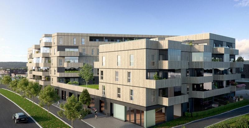 80 nye leiligheter i moderne bygg med flott arkitektur i midten av sentrum i Sørumsand.