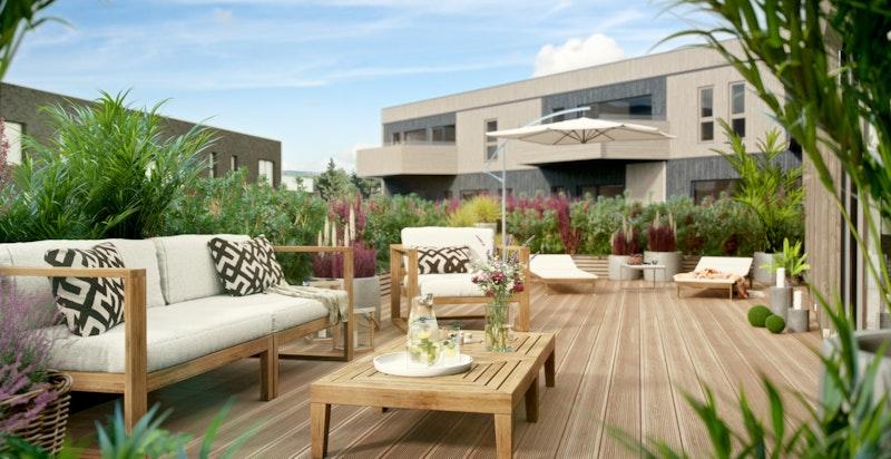 Eksempel på privat terrasse 4-roms. Avvik kan forekomme.