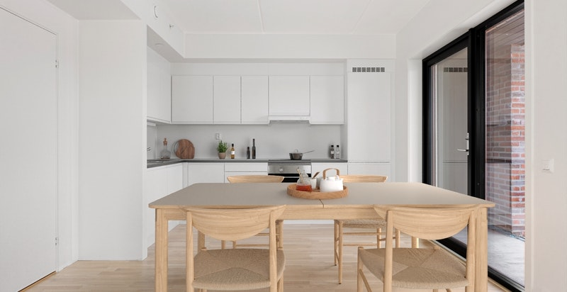 Leilighet B110 Kjøkken - Bildet er innredet digitalt