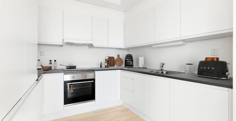Leilighet B403 Kjøkken - Bildet er innredet digitalt