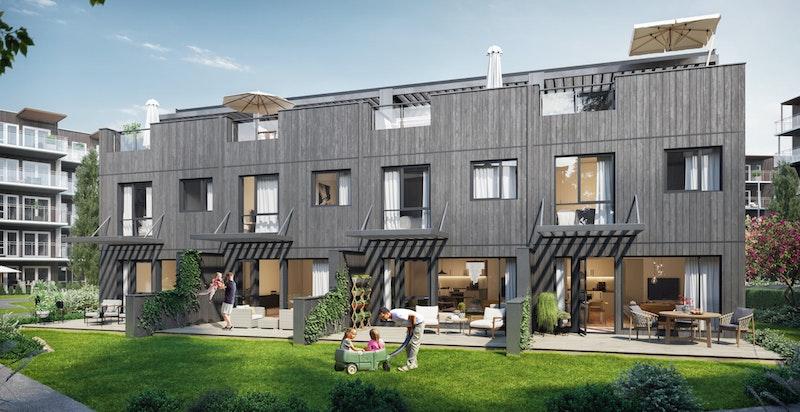 Alle boligene får egen hage med utgang fra stuen. Bildet er kun ment som illustrasjon