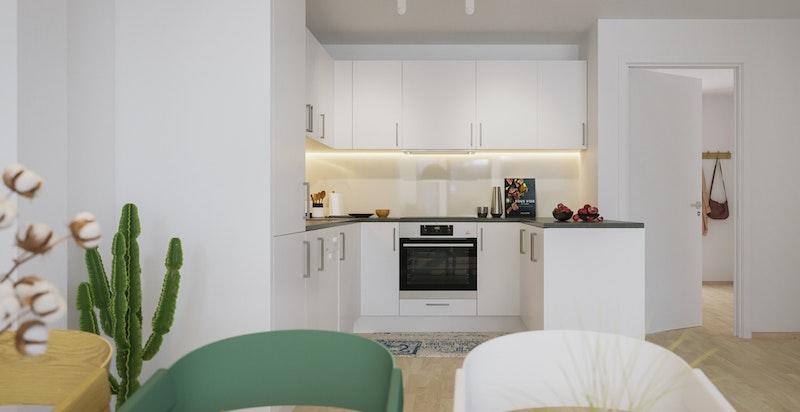 Kjøkken med hvitevarer. Bildet er kun ment som illustrasjon
