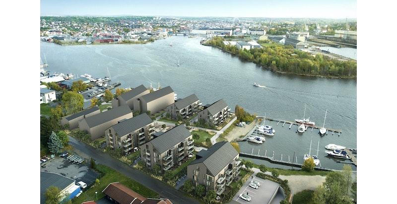 Bruket Brygge vil bestå av 9 flotte bygg med 150 nye leiligheter