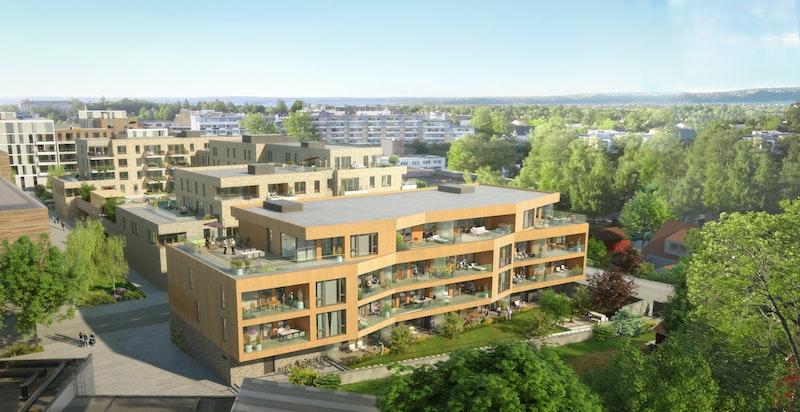 VIlla P - sett med Meglergården og bibliotek i bakgrunnen