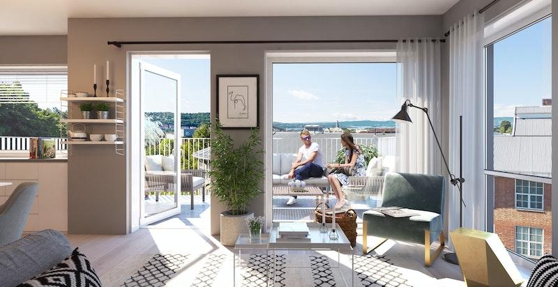 Alle leiligheter har romslige balkonger og terrasser.
