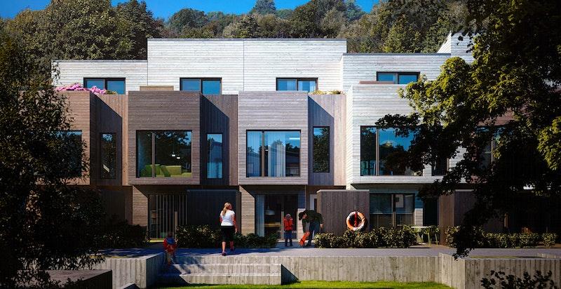 Husene har 1 eller 2 hageparseller, og i tillegg takterrasse.