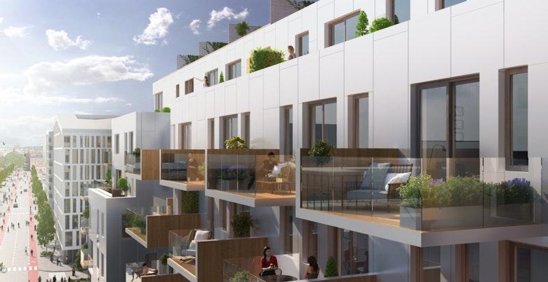 Alle leiligheter har store balkonger eller takterrasser