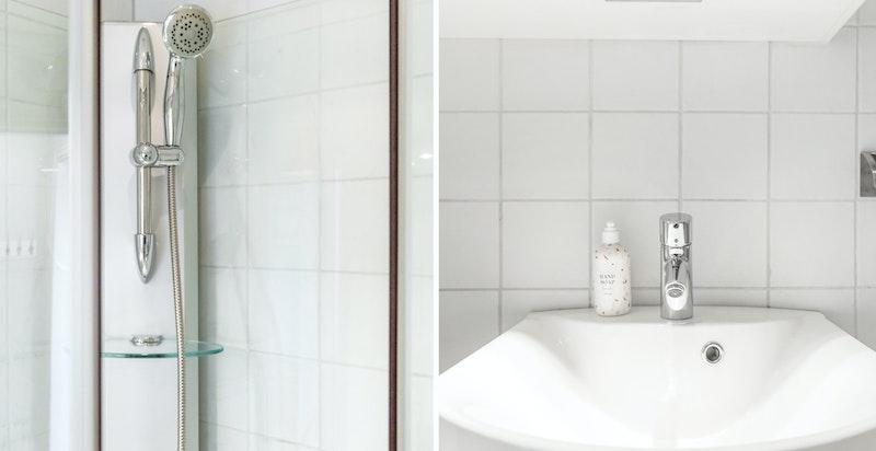 Badet inneholder wc, servant, dusjkabinett og opplegg til vaskemaskin/tørketrommel.