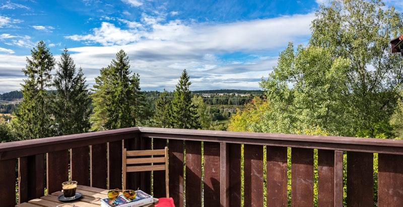 Terrasse med spektakulær utsikt over nærområdet.