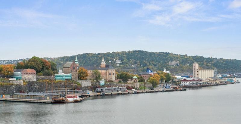Utsikt mot Akershus festnig fra takterrassen