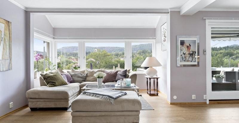 Hyggelig sofakrok i den ene enden av stuen