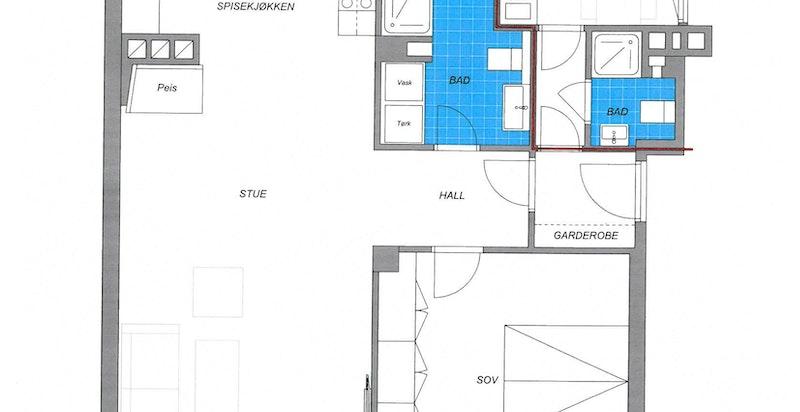 Mulig planløsning med hybel. Tilsvarende løsning er etablert i annen leilighet i bygget.