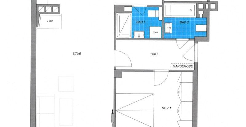 Alternativ planløsning med 2 bad og 3 soverom. Tilsvarende løsning er etablert i annen leilighet i bygget.