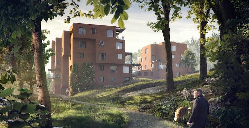 """Skaret sett fra nord. """"Morgentrim"""". Hus B til venstre, Hus A til høyre. Illustrasjon."""