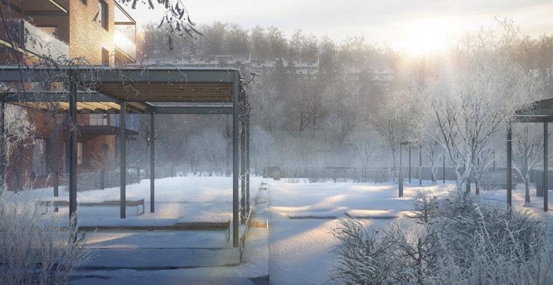 """Vintermorgensol"" sniker seg inn på Skarets flotte hageareal. Illustrasjon."