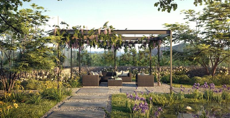 En av to flotte pergolaer/møtesteder i prosjektets parkmessig opparbeidede hage. Illustrasjon.