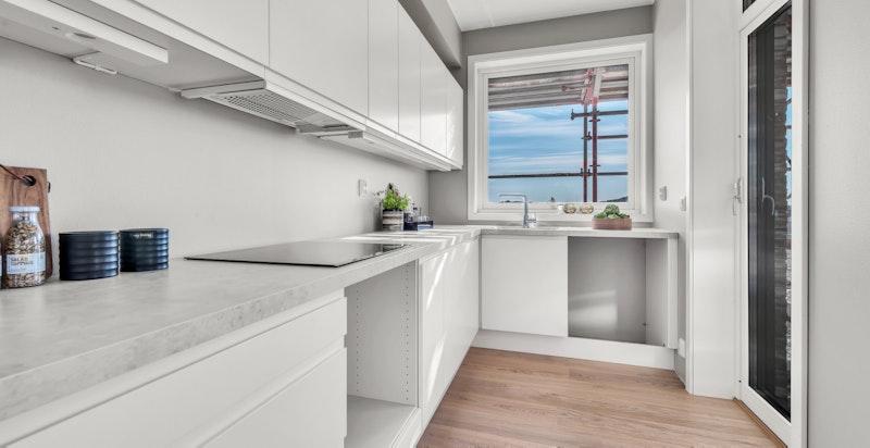 Bilde fra leilighet B604. Hvitevarer på kjøkken er ettermontert i visningsleiligheten.