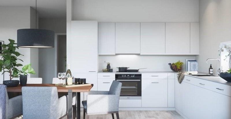 Moderne og tidsriktig kjøkken med åpen løsning. Kun ment som illustrasjon.