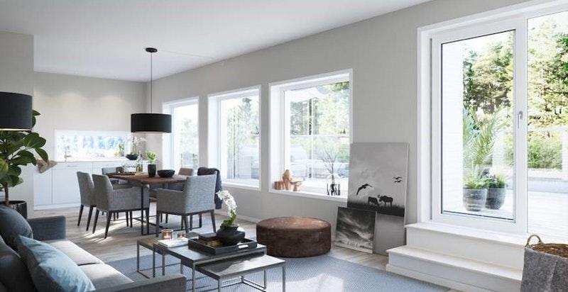 Store vindusflater slipper inn mye lys og skaper en luftig atmosfære. Kun ment som illustrasjon.