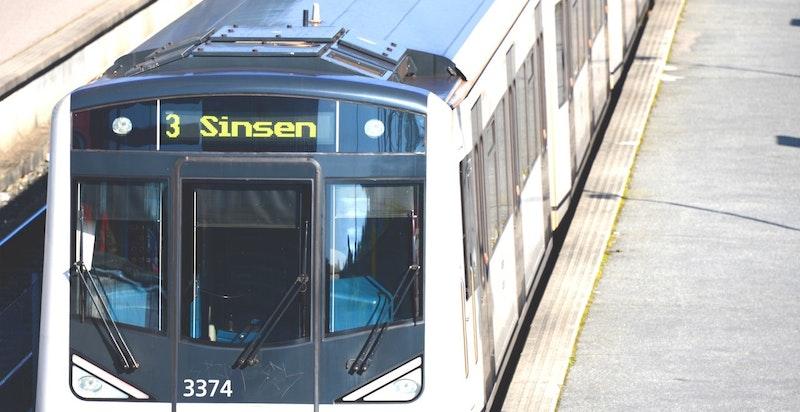 Svært kort vei til Skullerud t-banestasjon
