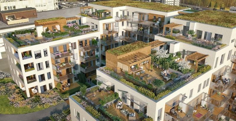 Det blir både private og felles takterrasser/hager. Kun ment som illustrasjon.