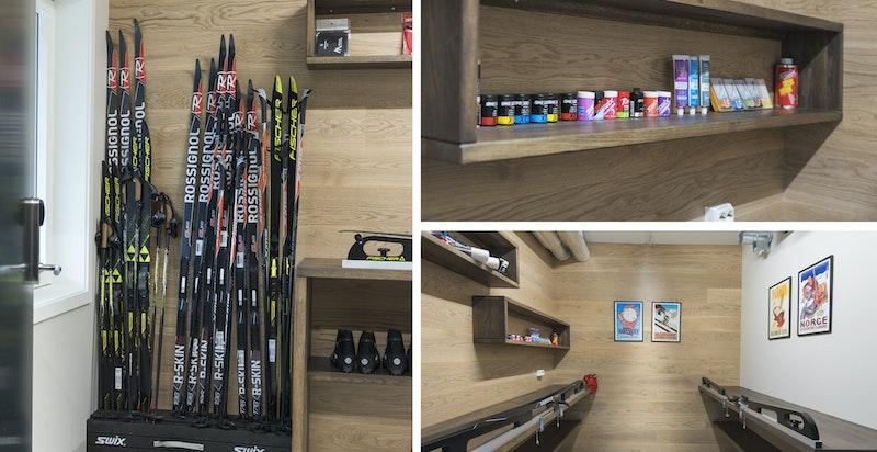 Felles ski-/sykkelstall med smørebod og sykkelverksted for de aktive