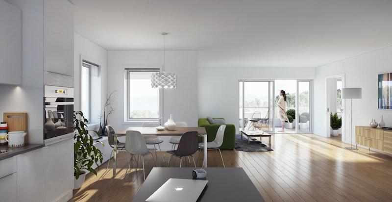 Lyse gjennomgående leiligheter med solrike uteplasser.