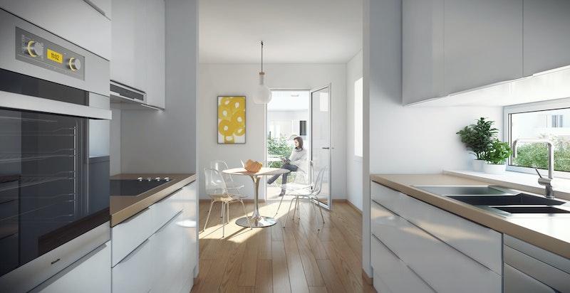 Endeleilighetene har vindu mellom overskap og benk på kjøkken. Direkte utgang til frokostbalkong med morgensol.