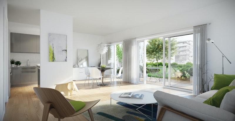 Også for de mindre leiligheten har man store vinduer og masse lys. Leiligheter på bakkeplan har skjermede uteplasser på terreng.
