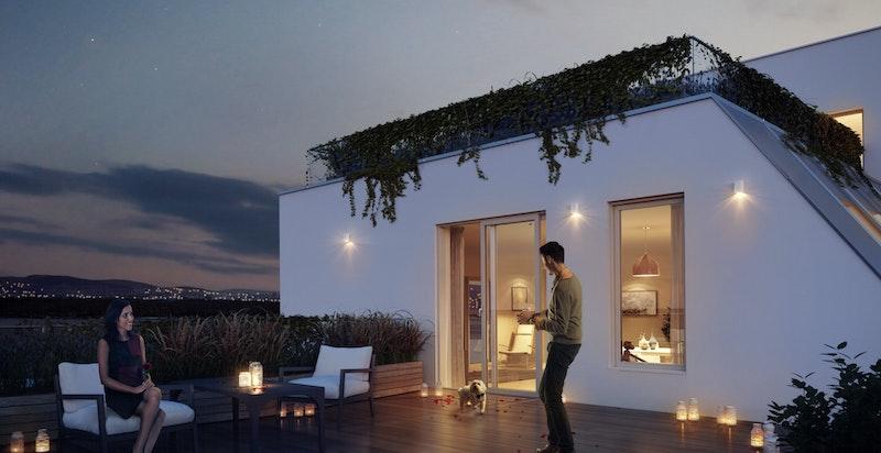 Leilighetene i de 2 øverste etasjene har i tillegg til balkonger også stor solrike takterrasser.