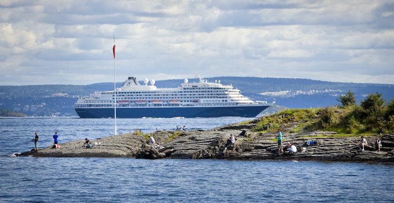 Fra kollen bak boligene har man fri utsikt over fjorden og innseilingen til Oslo havn.