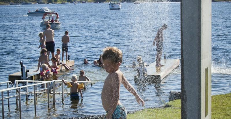 Bading på Storøyodden.
