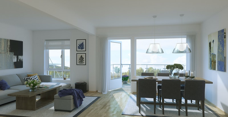 Lys stue med god plass til sofa- og spisegruppe