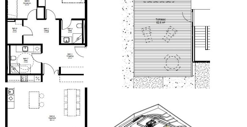 Planskisse leilighet og takterrasse Ekebergveien 226 B leil. B401 Sæter Terrasse. Leilighetens plassering i bygningen i gult. Privat takterrasse over boligen.