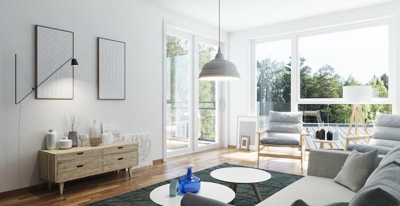 Lys og luftig stue med utgang til balkong. Store vindusflater slipper inn godt med lys. Kun ment som illustrasjon.