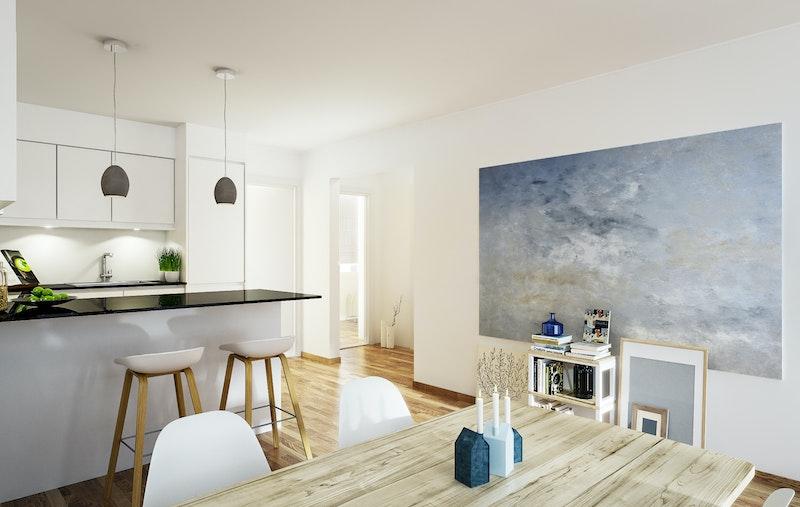 Moderne og tidsriktig kjøkken fra HTH med barløsning og plass til spisebord. Animert fra en lignende leilighet i prosjektet. Kun ment som illustrasjon.