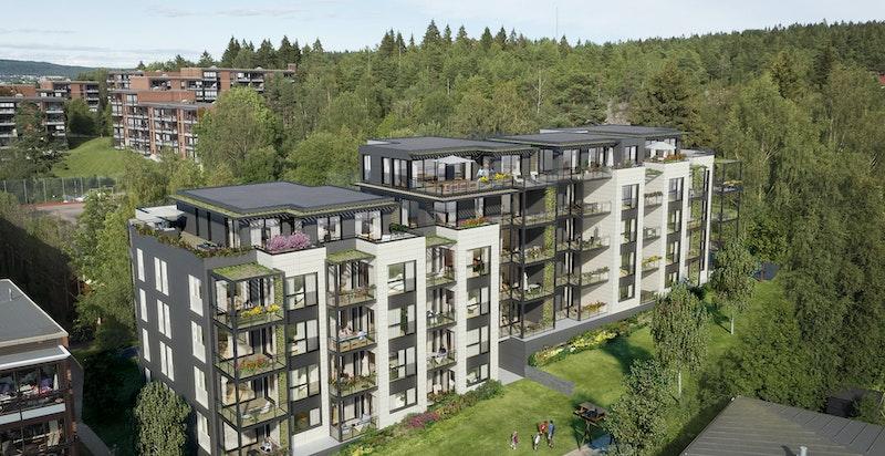 Fasade trinn 1. Leiligheten ligger flott til i byggets 3. etasje. Kun ment som illustrasjon.