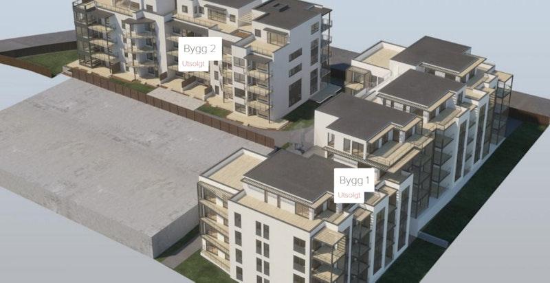 Lutvanntoppen trinn 1 og trinn 2 sett i sammenheng. Aktuelle bolig ligger i 3. etg. i bygg 1 (trinn 1). Kun ment som illustrasjon.