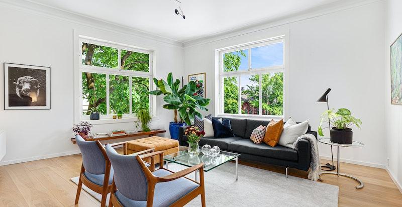 Lys, luftig leilighet i grønne omgivelser