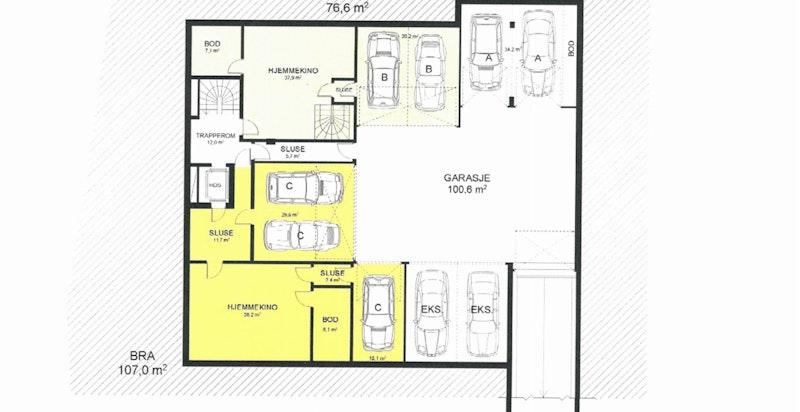 Planskisse garasjekjeller - det som er gult skravert tilhører eksklusivt leiligheten