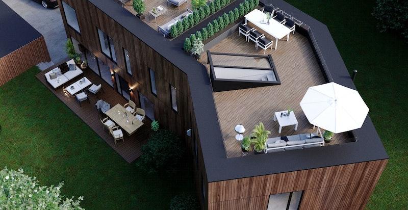 Solrike uteområder omkranser boligene. Beliggende i flotte grønne omgivelser i umiddelbar nærhet til marka