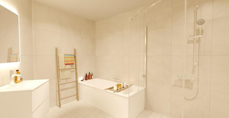 Bad innredet med badekar, dusjhjørne, servant og toalett