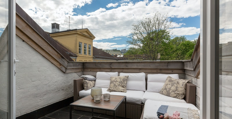 Terrassen har plass til utemøblement og grill