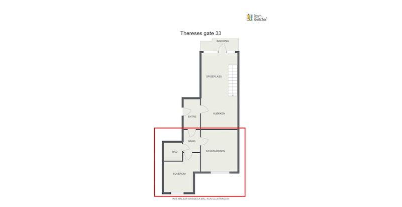 Plantegning 5. etasje - delen som i dag er leid ut, er markert med rødt.