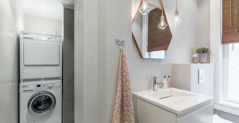 Opplegg for vaskemaskin på badet