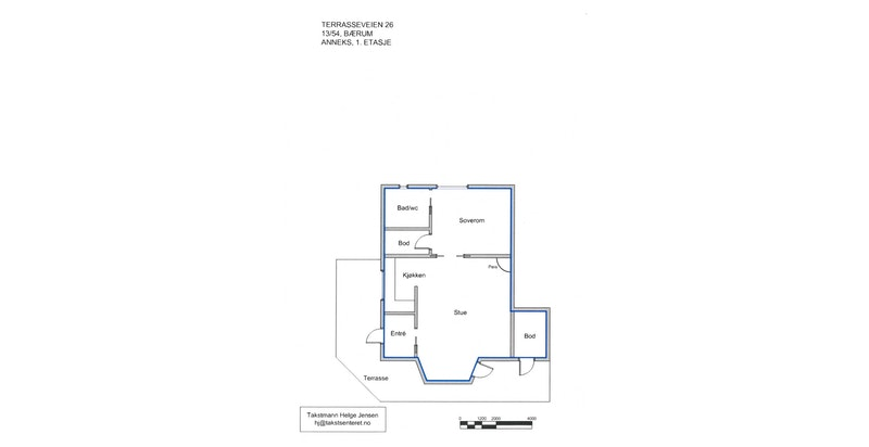 Plantegning - Sidebygning 1. etasje