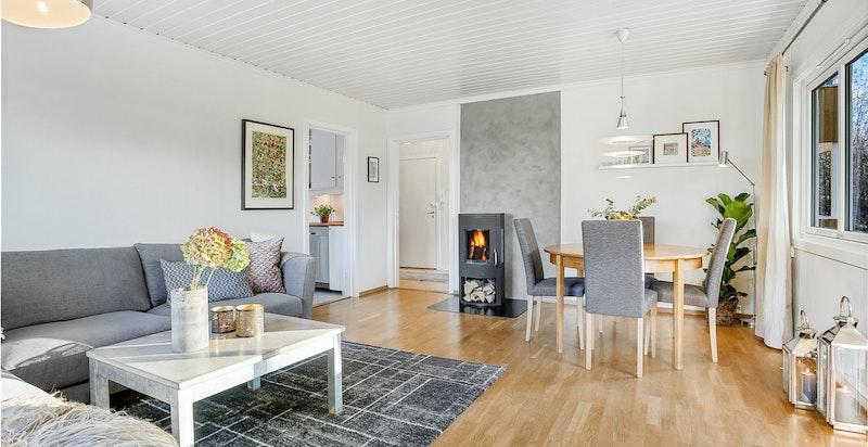 Stuen med god plass til sofagruppe og spisebord