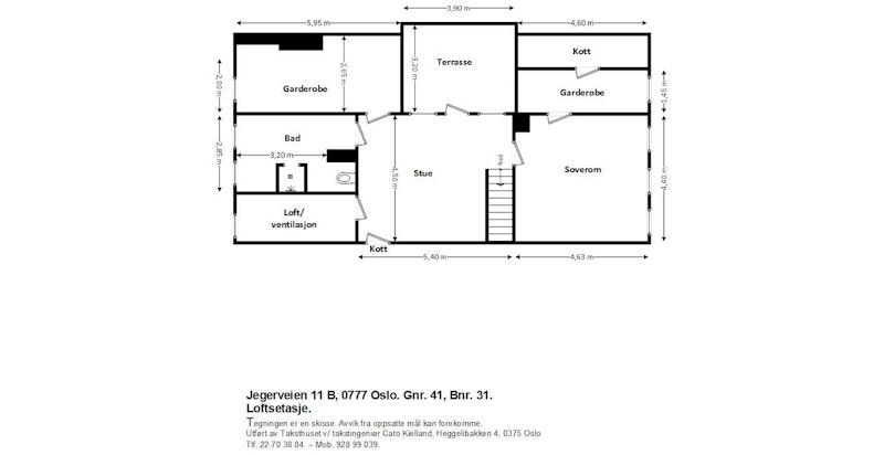 Jegerveien 11 B - Plantegning loft