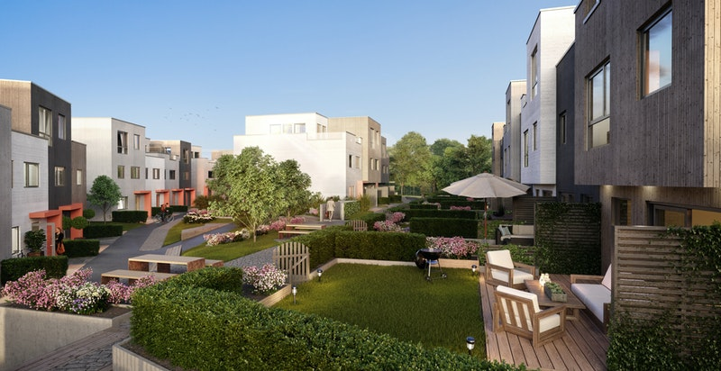 Takterrasse, terrasse og privat hage
